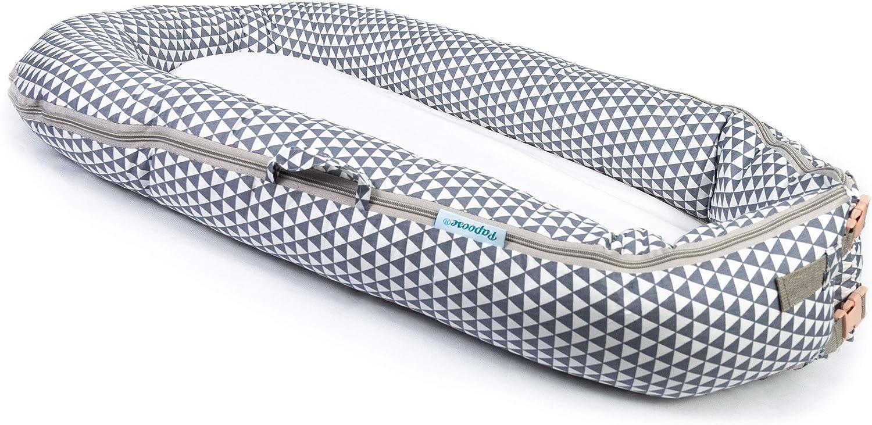 Papoose - Saco de dormir para bebé suave y tierno, 0–8meses grey triangle Talla:largo