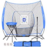 JOGENMAX 7x7 DLX Practice Net + Deluxe Tee + Ball Caddy + 3 Training Ball/Strike Zone Bundle + Carrying Bag | Baseball…