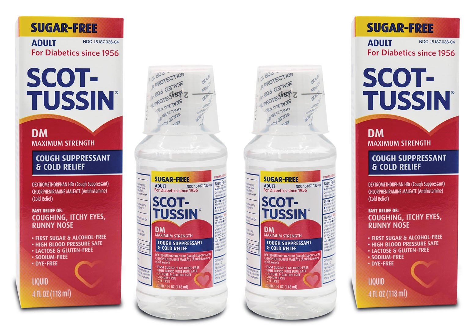 Scot-Tussin DM Cough Syrup with Chlorpheniramine Maleate, Alcohol-Free, Sugar-Free Cough Suppressant for Fast Cold Relief, 4oz Pack of 2 by Scot-Tussin