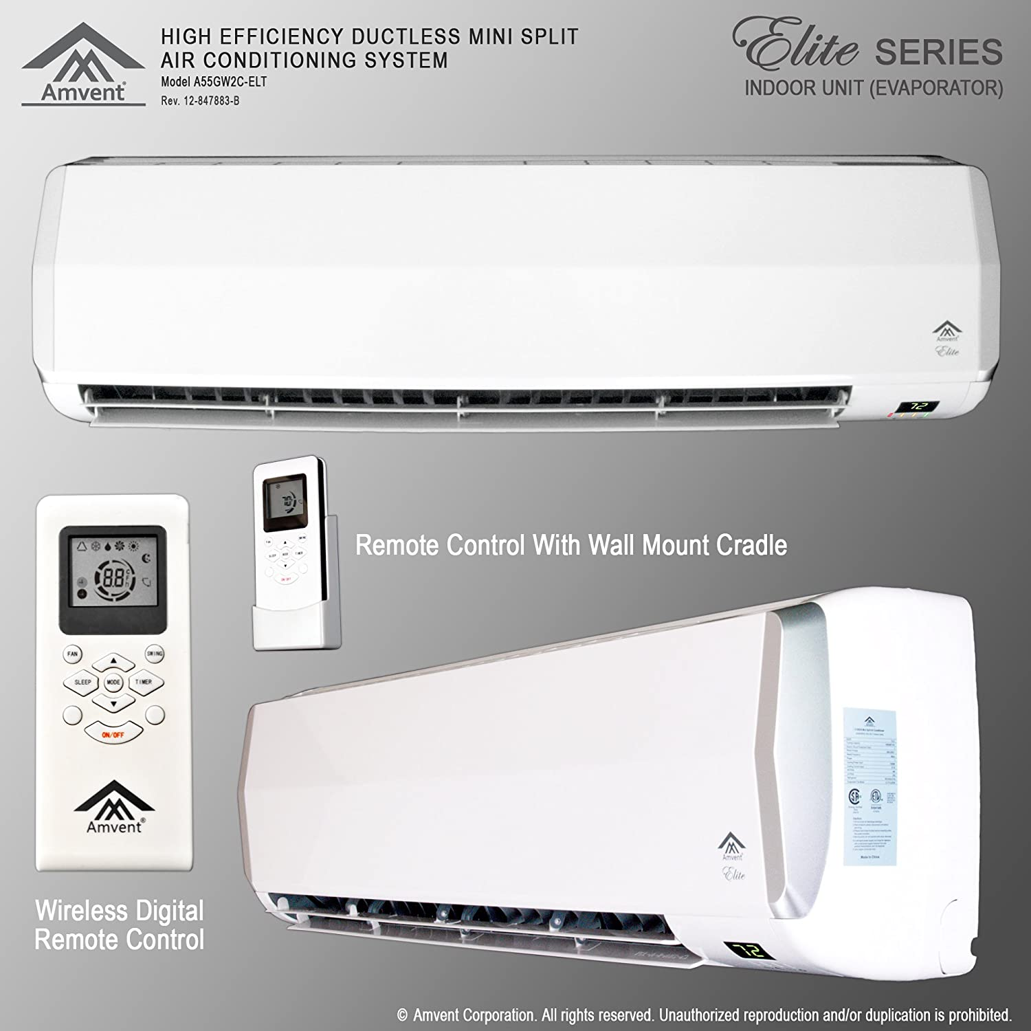 split air conditioning system. amazon.com: amvent 18000 btu 1.5 ton ductless wall mount mini split room air conditioner ac conditioning cooling system unit: home \u0026 kitchen