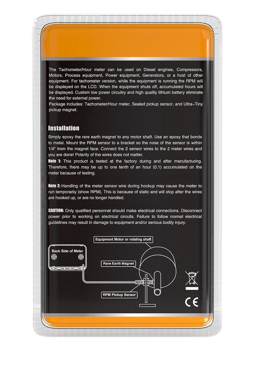 AndyTach Digital magnetic sensor activated Tachometer and hour meter for  diesel engine