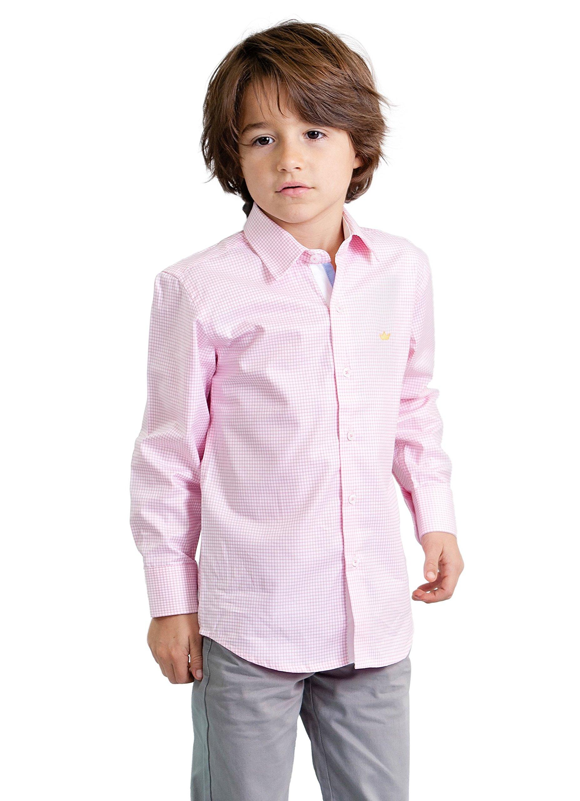 Dakomoda Toddler Boys' Pink Check Pima Cotton Gingham Shirt, Easter Dress Shirt 4T