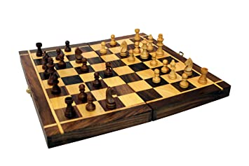 Lunatic CRAFTWORK Collectible Folding Hand Carved Wood / Wooden Chess Game 12X12 inches Board Set with Wooden Pieces