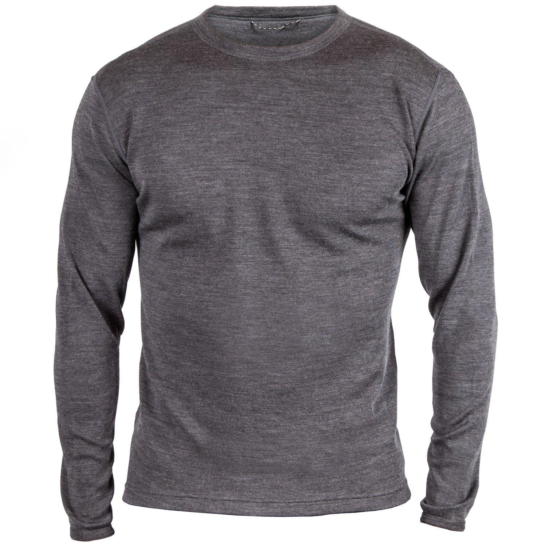 MERIWOOL Men's Merino Wool Midweight Baselayer Crew - Charcoal Gray/L by MERIWOOL