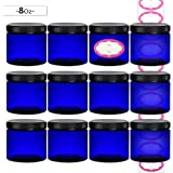 DilaBee 12-Pack 8 Ounce Cobalt Blue Refillable Plastic Cosmetic Jars with Lids and Labels, Round Containers For Beauty Products, Cream, Exfoliating Scrub, Face Masks and Lotion