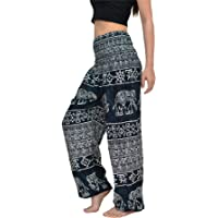 Women Harem Pant Boho Genie Aladdin Smocked Waist Yoga Trousers