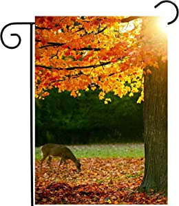 """ShineSnow Autumn Forest Maple Tree Fall Leaves Animal Deer Golden Sunlight Seasonal Garden Yard Flag 12""""x 18"""" Double Sided Polyester Welcome House Flag Banners for Patio Lawn Outdoor Home Decor"""