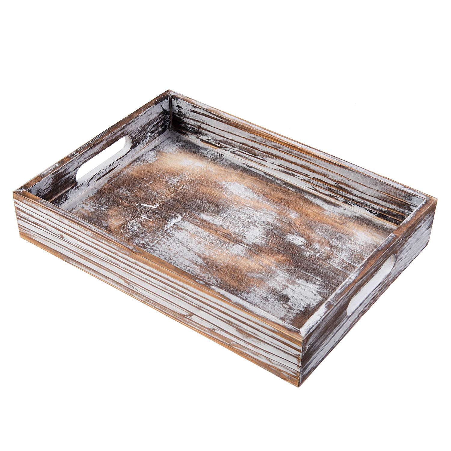 Liry Products Rustic Whitewashed Wood Food Serving Tray Cutout Carrying Handles Breakfast in Bed Coffee Platter Table Wine Brown Rectangular Nesting Crate Desktop Document Holder Office Home Kitchen