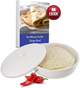 10 Inches Ceramic Tortilla Warmer by StarBlue with FREE Recipes ebook - White, Insulated One Hour and Holds up to 24 Tortillas,Chapati, Roti, Microwavable, Oven Safe