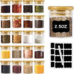Glass Jars with Bamboo Lid 2.5oz 20Piece Mini Size Food Storage Canisters Set Meal Prep Container for Kitchen Rice Cereal Beans Candy Baby Food Flour Airtight Jars