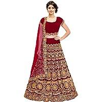 KEDARFAB Women's Bangalore Silk Embroidered Lehenga Choli with Blouse Piece (Red, Free Size)