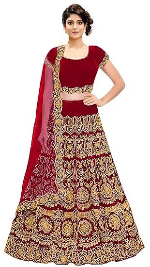 78b10ba60c KEDARFAB Women's Bangalore Silk Embroidered Lehenga Choli with Blouse Piece  (Red, Free Size): Amazon.in: Clothing & Accessories