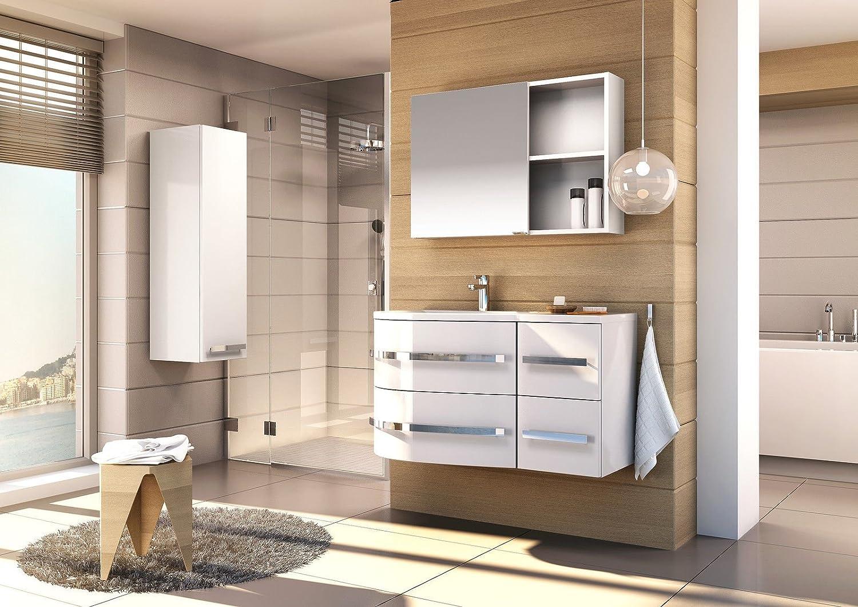 badm bel set opal weiss badm bel mit waschbecken mdf hochglanz g nstig online kaufen. Black Bedroom Furniture Sets. Home Design Ideas