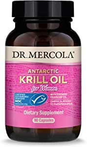 Dr. Mercola Antarctic Krill Oil for Women with Evening Primrose Oil, 30 Servings (90 Capsules), MSC Certified, Non GMO, Soy-Free, Gluten Free