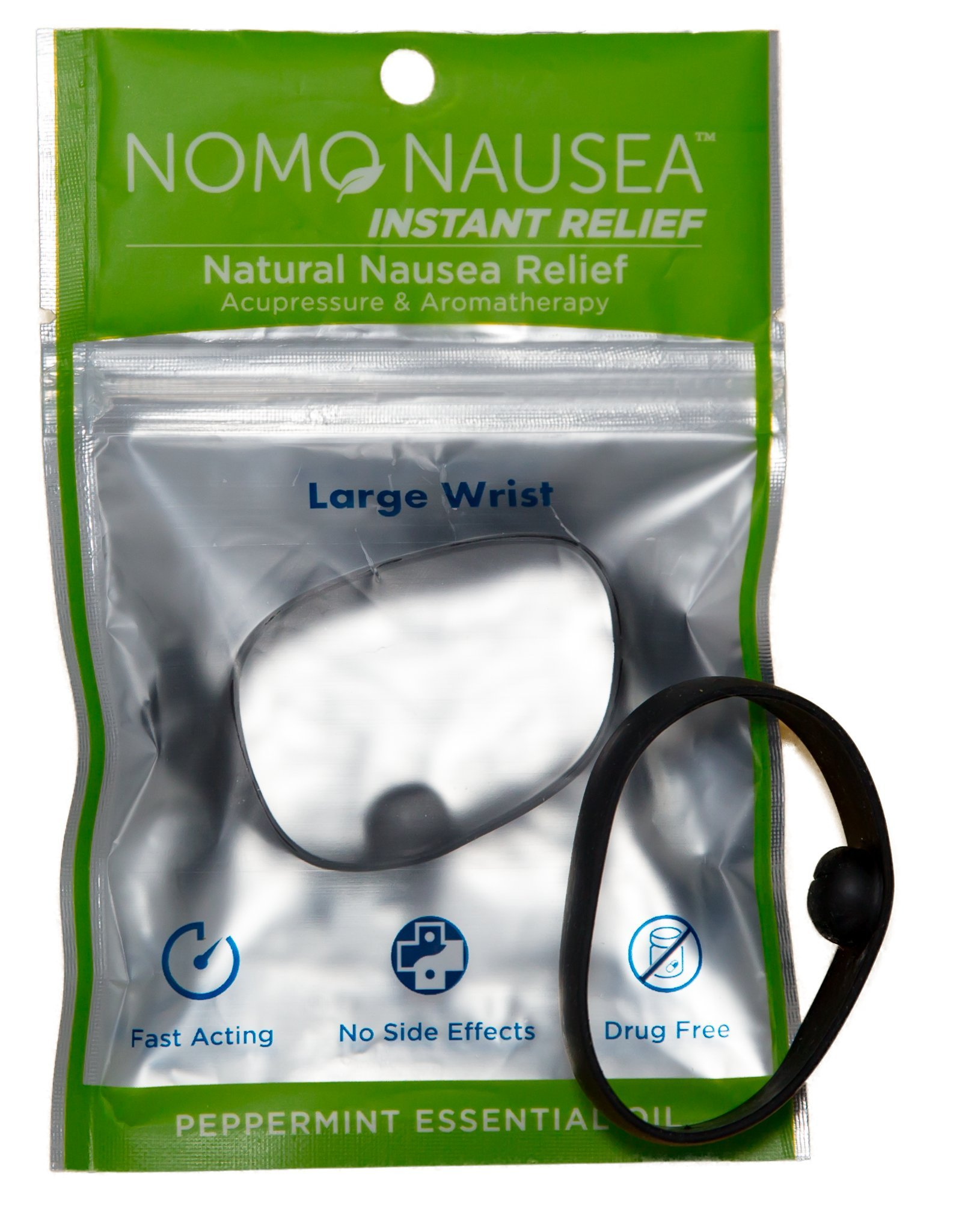 NoMo Nausea Instant Relief Large Black Aromatherapy Anti-Nausea Bands with Acupressure