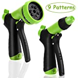 Garden Hose Nozzle Spray Nozzle Set, Water Nozzle, 9 Adjustable Watering Patterns for Watering Plants, Cleaning, Car Wash and Showering Pets Green (Green)