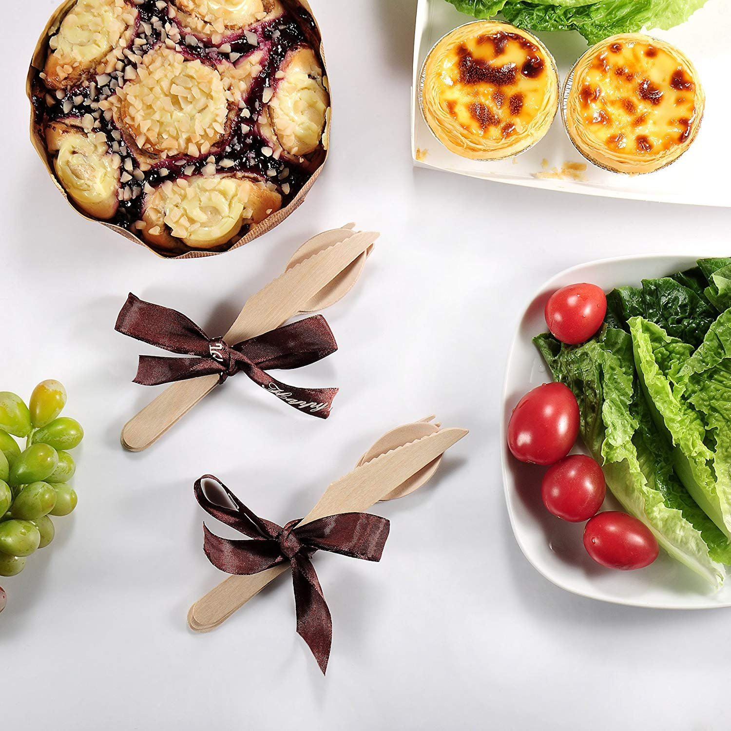 Wood set cutlery biodegradable-disposable-eco friendly-100 wooden forks-100 knives-100 spoons-For Parties, Picnics, Events & Weddings – Durable & Environmentally Safe by OFO WOOD (Image #3)