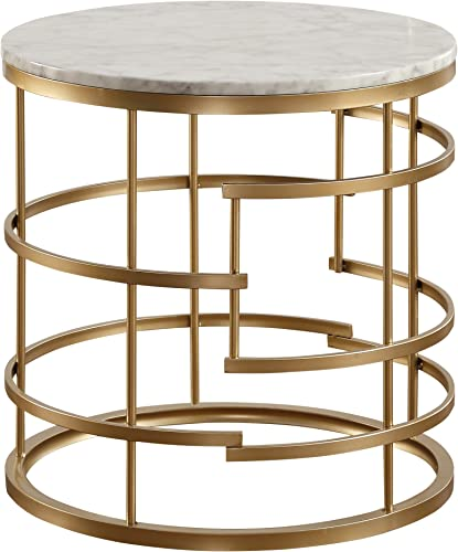 Homelegance Brassica 24″ Round Faux Marble End Table