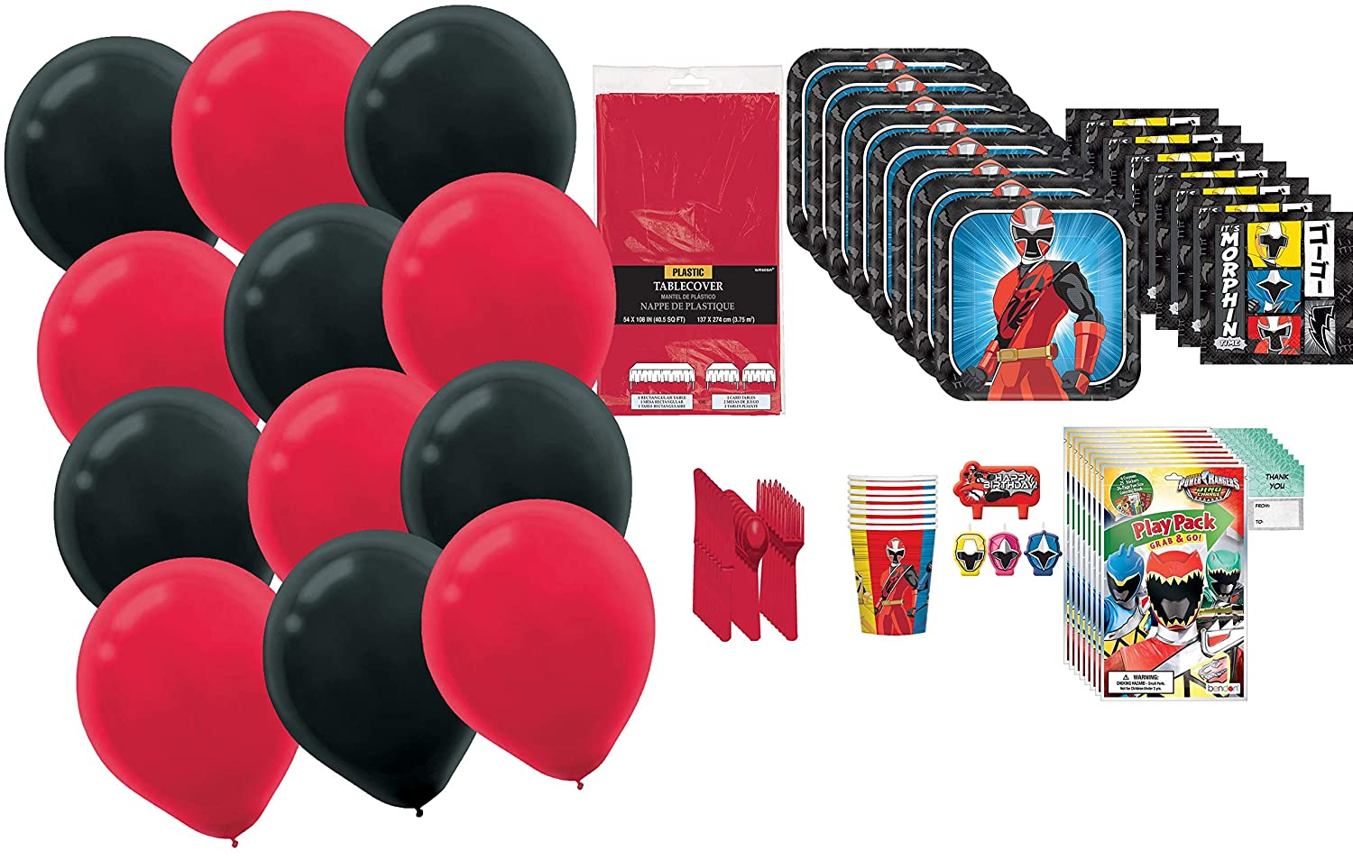 """balloons and /""""Thank you/"""" cards for your guests By Rainforest Products Cups Power Rangers Birthday MEGA Party Supply Pack for 8 with Grab and Go Play Packs Party Favors knives Tablecover Napkins spoons forks Candles Plates"""