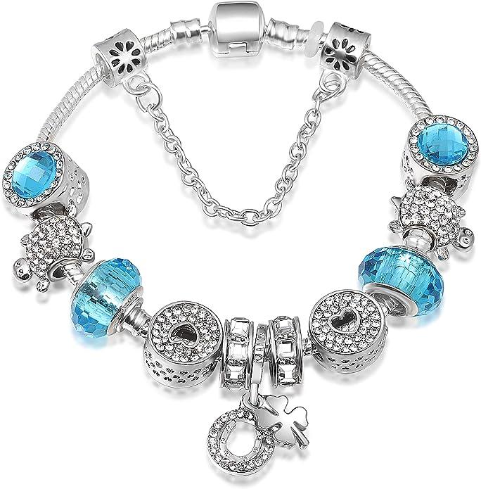 ATE Bracelet Charms Verre Drops Cristaux Cha/îne de S/écurit/é Femme Cadeau