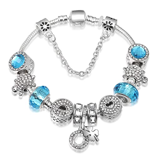 A TE®Bracciale Charms da Donna e Ragazza Blu cristalli Beads Regalo Festa  SKU JW-B36  Amazon.it  Gioielli f8576f705222