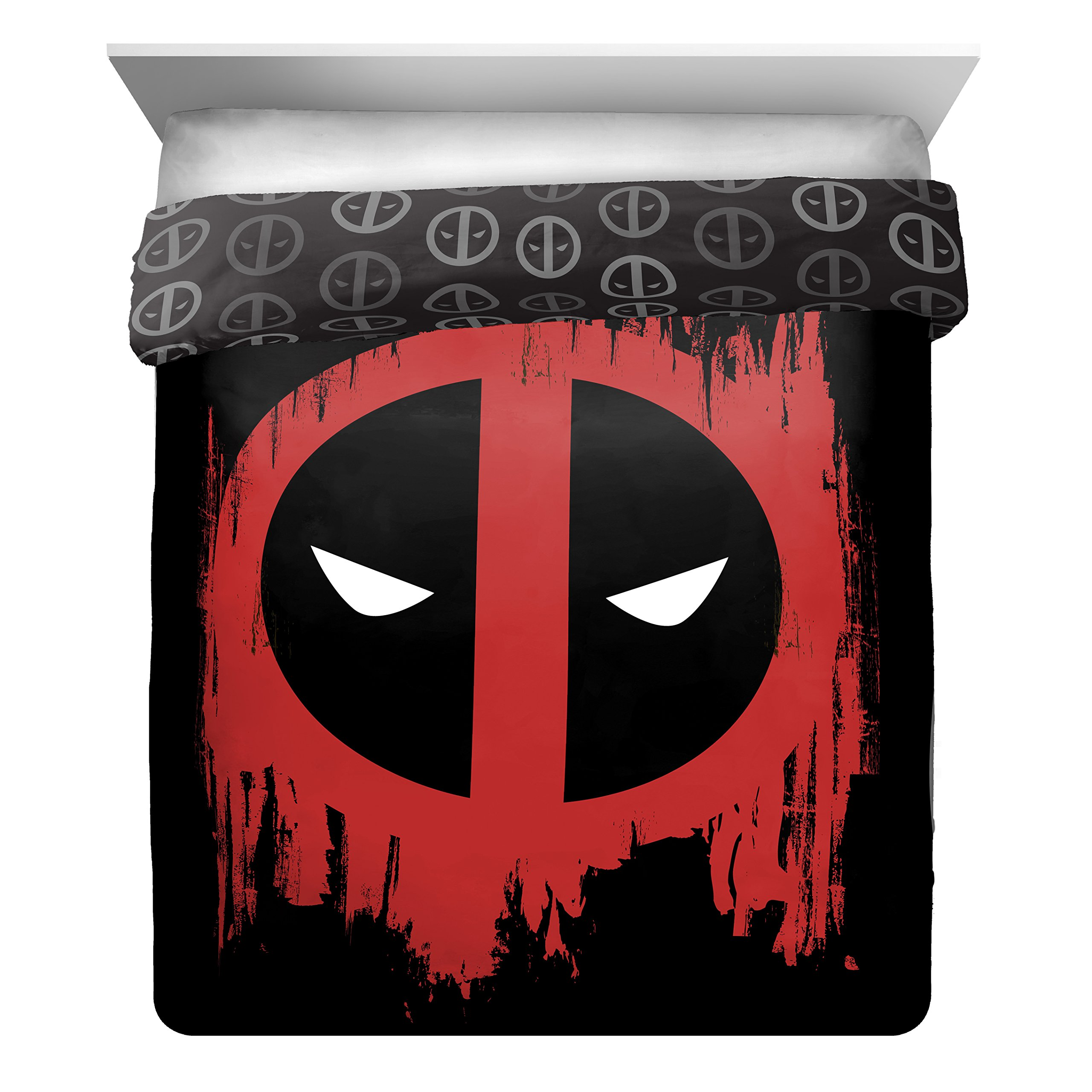 A&L 1 Piece Boys Red Deadpool Invasion Comforter Full Queen, Black Kids Action Superhero Themed Bedding American Super Hero Film Based Comics Titan Hero Series Movie Character Pattern, Polyester by A&L