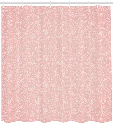Light Pink Shower Curtain By Ambesonne Cute Flowers Spiral Leaves Heart Figures Lovers Romantic Girls