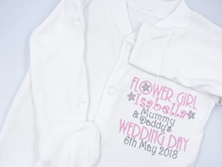 Godparents PERSONALISED FLOWER GIRL New Girls Baby BodysuitBaby Grow RomperAll-In-OneVest Name Wedding GiftPresent Bridesmaid