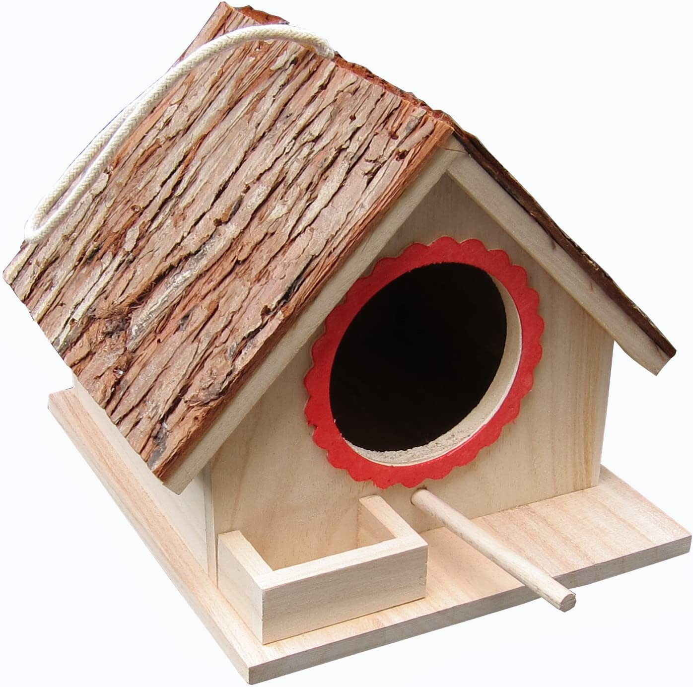 Tree Bark Roof Bird Feeding House, Bird Nesting Box, Assembled(READY TO USE),for Big Birds Like Cockatiel, Budgie, Parakeet, Dove as well as Small Birds Wren and Chickadee Species, Bluebirds etc