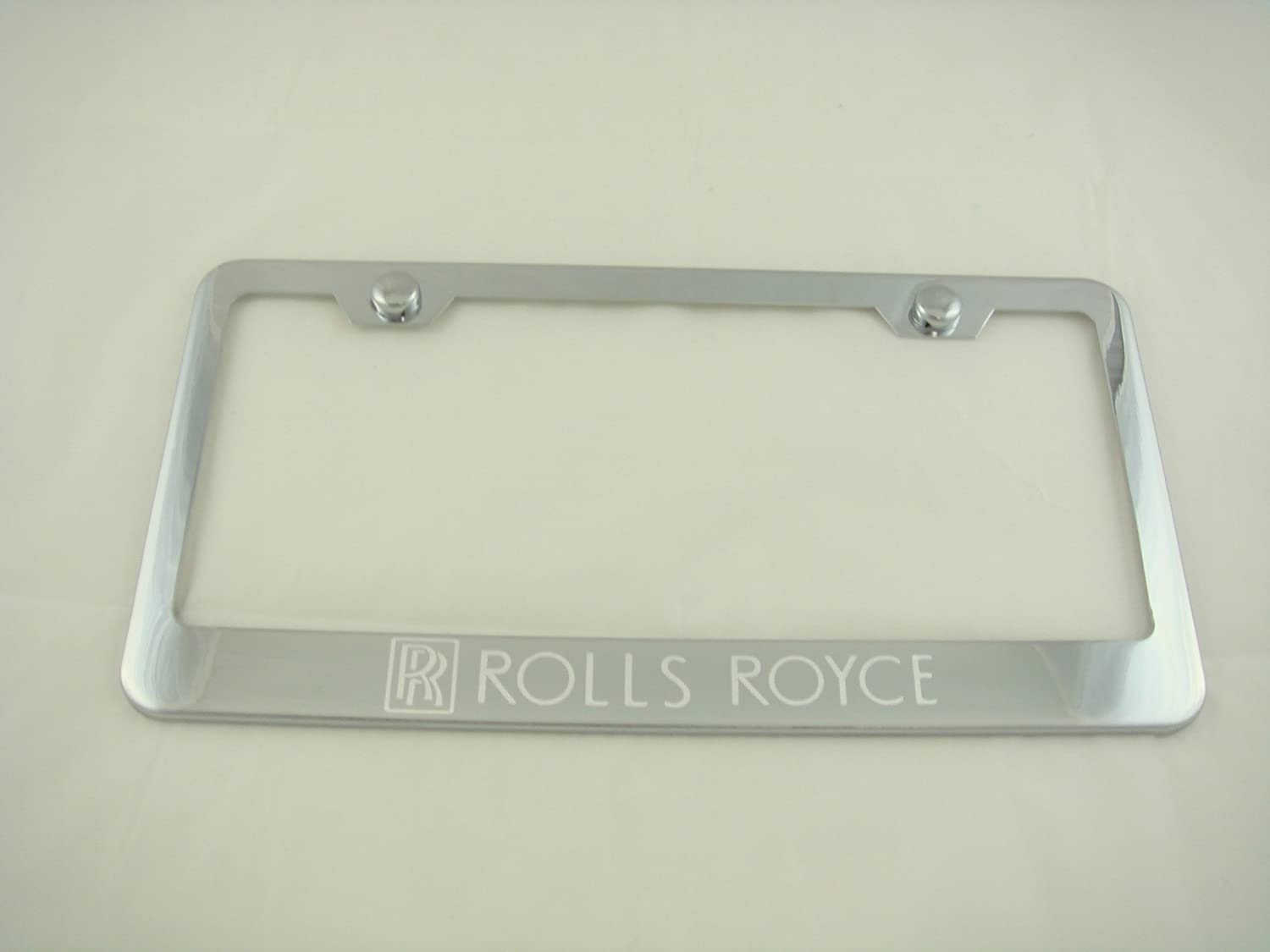 Fit Rolls Royce Polished Stainless Steel License Plate Frame with Caps