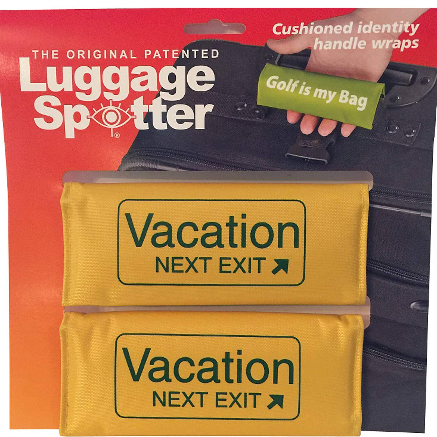 Luggage Spotter Buy ONE GET ONE Free Vacation Next EXIT Luggage Locator//Handle Grip//Luggage Grip//Travel Bag Tag//Luggage Handle Wrap Yellow 4 Pack
