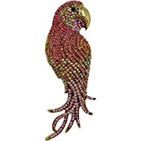 "TTjewelry 4.45"" Vintage Elegant Parrot Rhinestone Crystal Brooch Pin Bird Pendant"