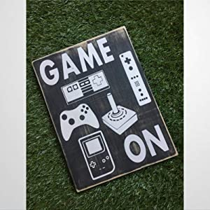 BYRON HOYLE Game on Wood Sign Video Game Sign Wood Plaque Wall Art Wall Hanger Home Decor