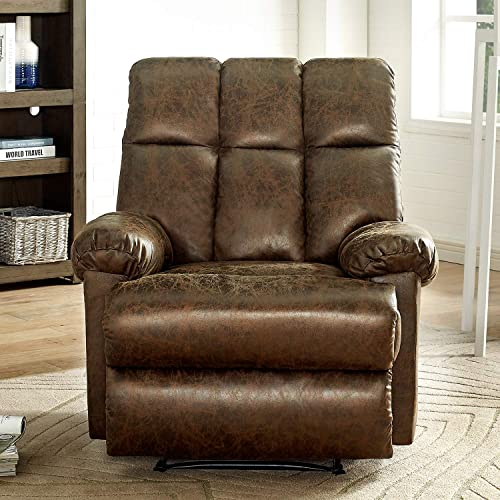 Bonzy Home Recliner Push Back Recliner Chair Comfortable Anti-Skid Short Flush Fabric Recliner Sofa Chair Home Theater Seating – Bedroom Living Room Reclining Sofa Chair Brown Suede