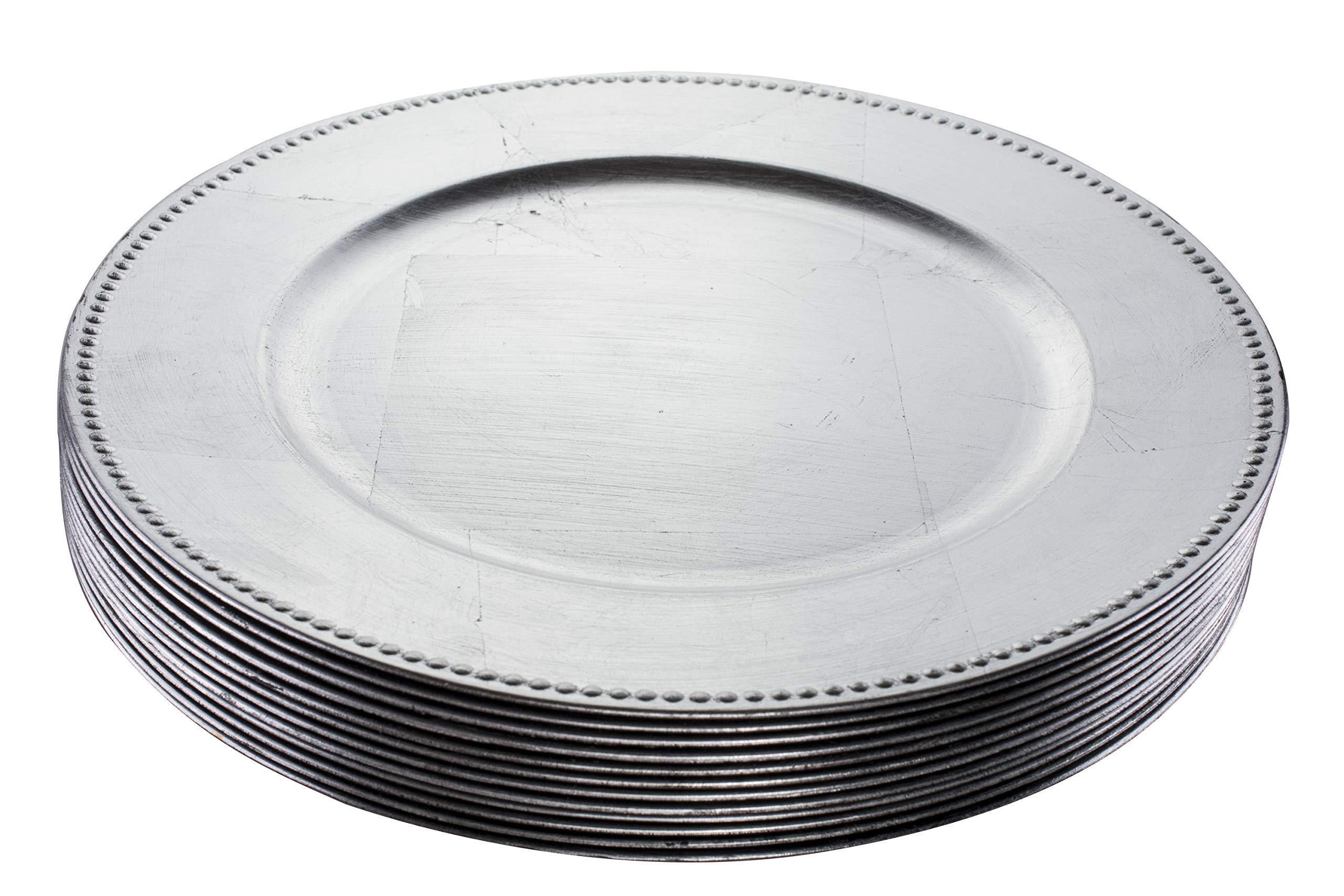 Simply Home USA 13'' Plate Charger Sliver Beaded Round Premium Finest Quality, Pack Of 12 …