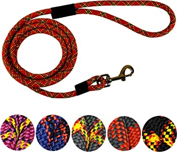 DTPS, Durable Dog Rope Leash, 6 feet, Red, Mountain Climbing Rope Leash