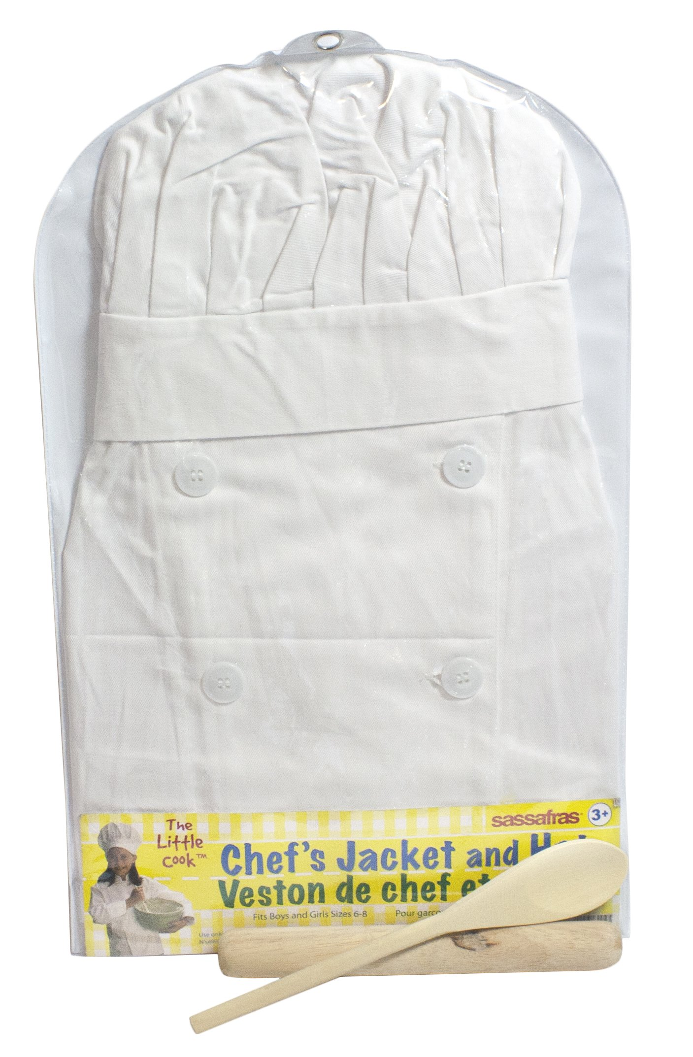 Sassafras ''The Little Cook'' Chef's Jacket and Hat with Wooden Spoon and Rolling Pin - Children's Chef's Jacket and Junior Baker's Accessory Kit - Enjoy Cooking With Your Kids!