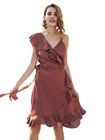 0b75d18dc2d Simplee Women s Sexy Polka Dots Strappy Wrap Dress Ruffled Swing A-Line  Dress