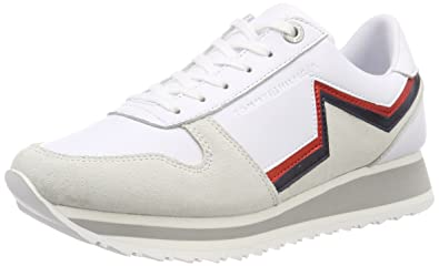 5b0fa7e2 Tommy Hilfiger Women's Tommy Star Retro Runner Low-Top Sneakers, White  (White 100