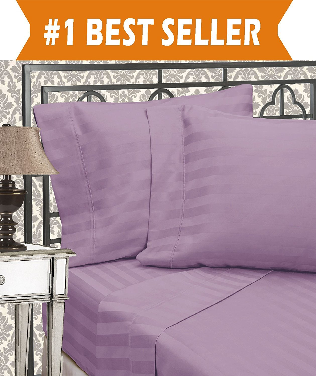 Luxurious Wrinkle Resistant 6-Piece DAMASK STRIPE Bed Sheet Set, Queen, Lavender/Lilac