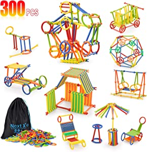 Building Toy, NextX 300 Pieces Educational Building Toy, Toy Stem Learning Set for Boys and Girls Ages3 4 5 6 7 8 9 10Year Old Enginnering and Educational Kit