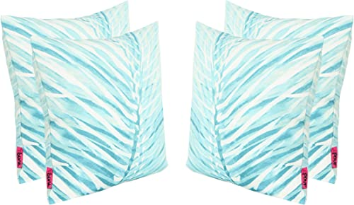 Christopher Knight Home Sally Outdoor Cushions, 17.75 Square, Palm Fronds, White, Teal Set of 4