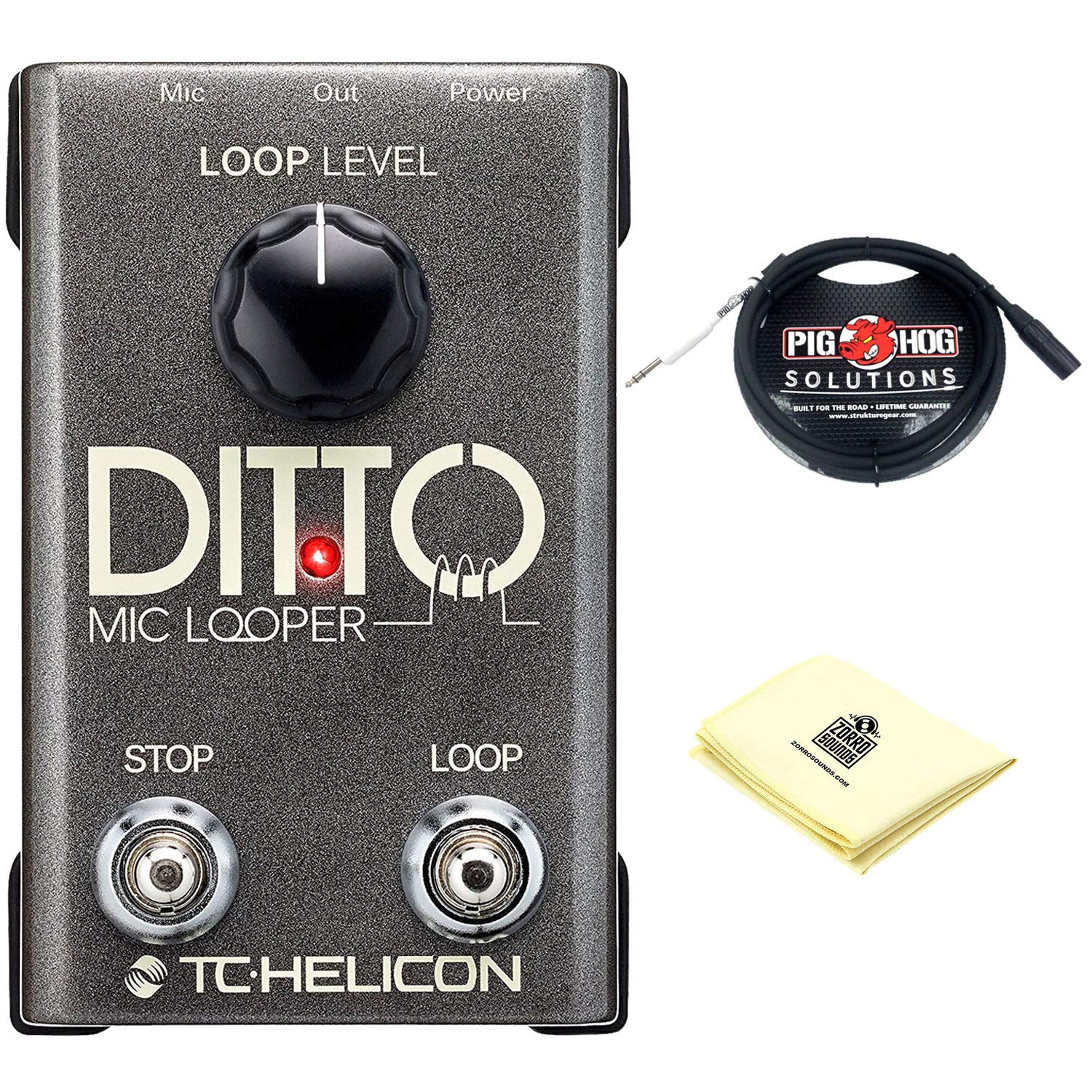 TC-Helicon Ditto Mic Looper Pedal for Microphones with Automatic Mic Gain with Guitar Pedals Cable and Zorro Sounds Electric Guitar Cloth