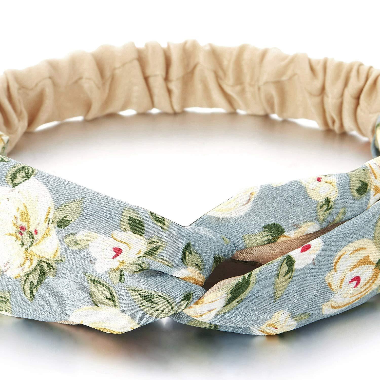COOLSTEELANDBEYOND Boho Bohemien Zigeuner Blumen Gekreuzt Kopf Haarwickel Turban Stirnband Kopfband Elastische Haarband
