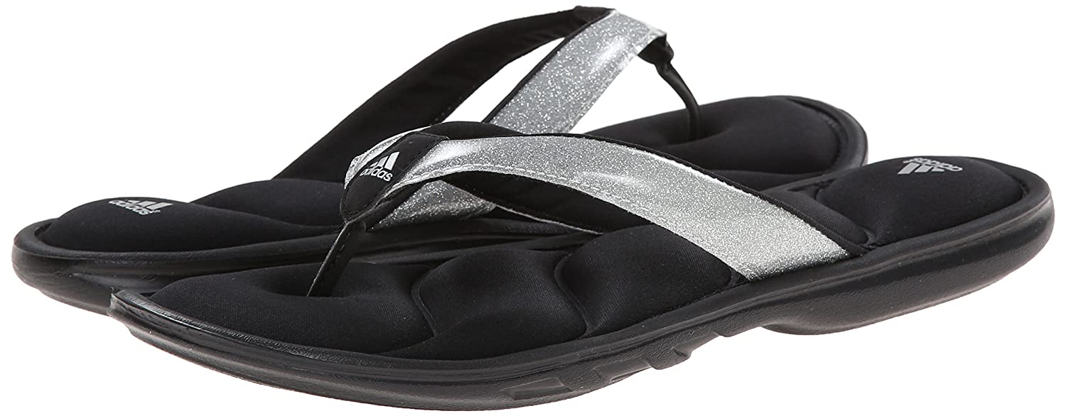 4ac4eebe9 Adidas New Women s Chilwyanda Glitter Thong Black Metallic Silver 6   Amazon.ca  Shoes   Handbags