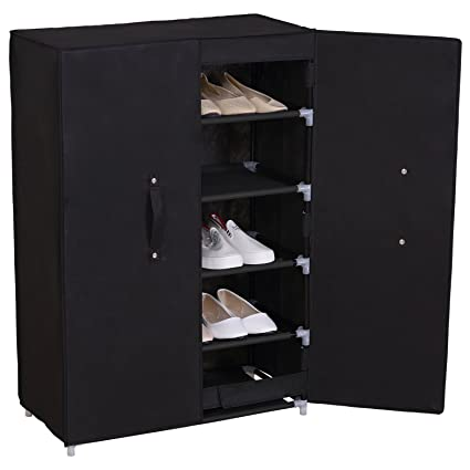 black shoe rack Amazon.com: WOLTU Black Shoe Rack with Cover 5 Tier Shelves Shoe  black shoe rack