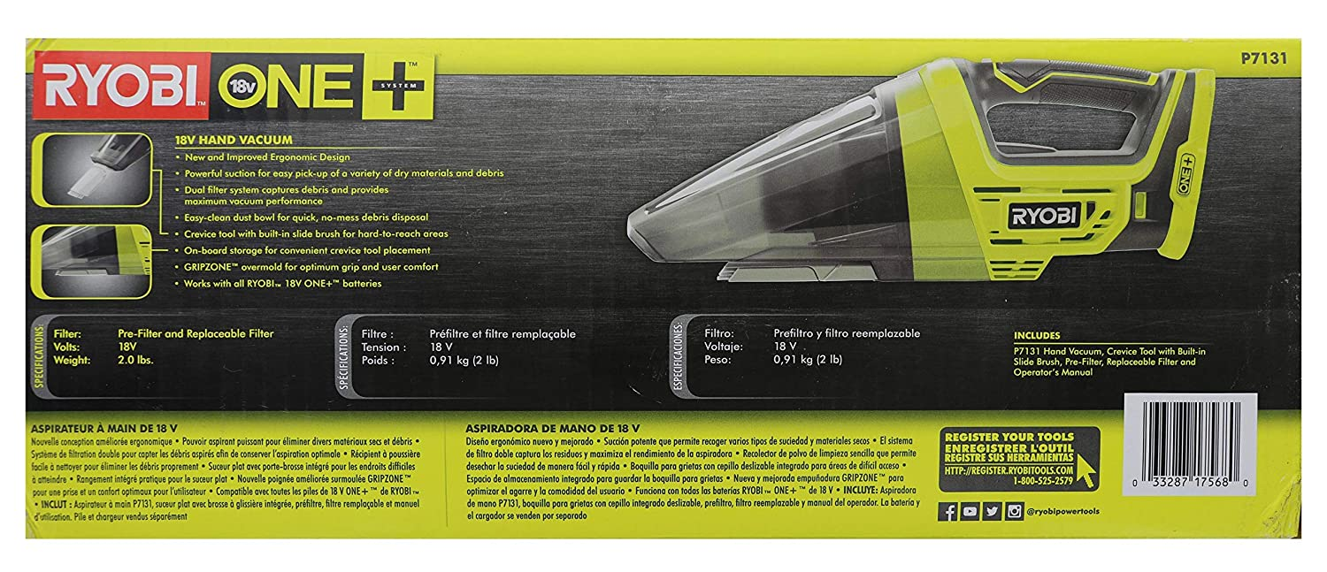 Batteries Not Included // Power Tool Only Ryobi P7131 One 18V Lithium Ion Battery Powered Cordless Dry Debris Hand Vacuum with Crevice Tool Renewed