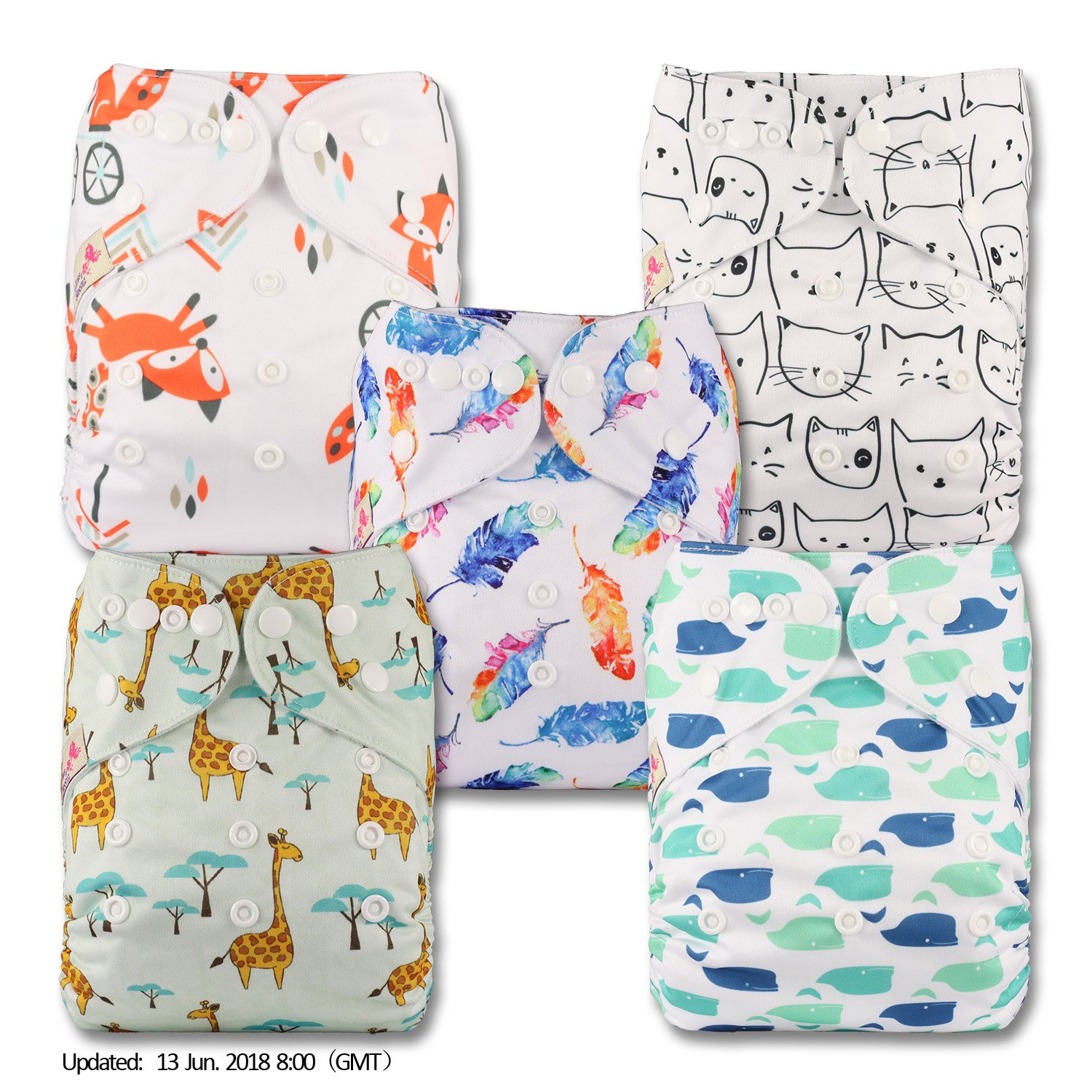 Reusable Pocket Cloth Nappy Littles /& Bloomz Patterns 501 Fastener: Popper Set of 5 with 10 Bamboo Inserts