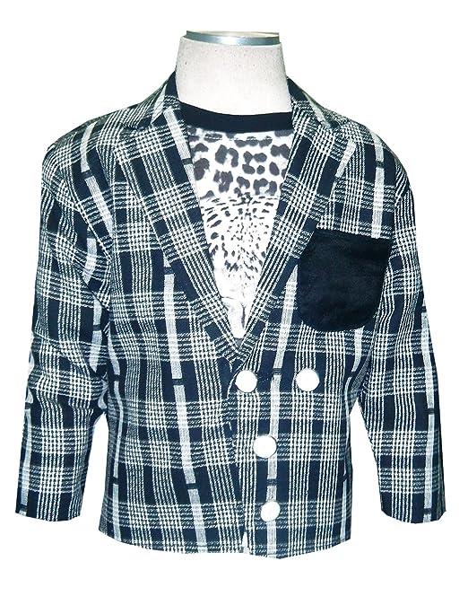 87366fd84b KOOKA KIDS Boys Full Sleeves Blazer with Half Sleeves Round Neck T-Shirt  (2PC