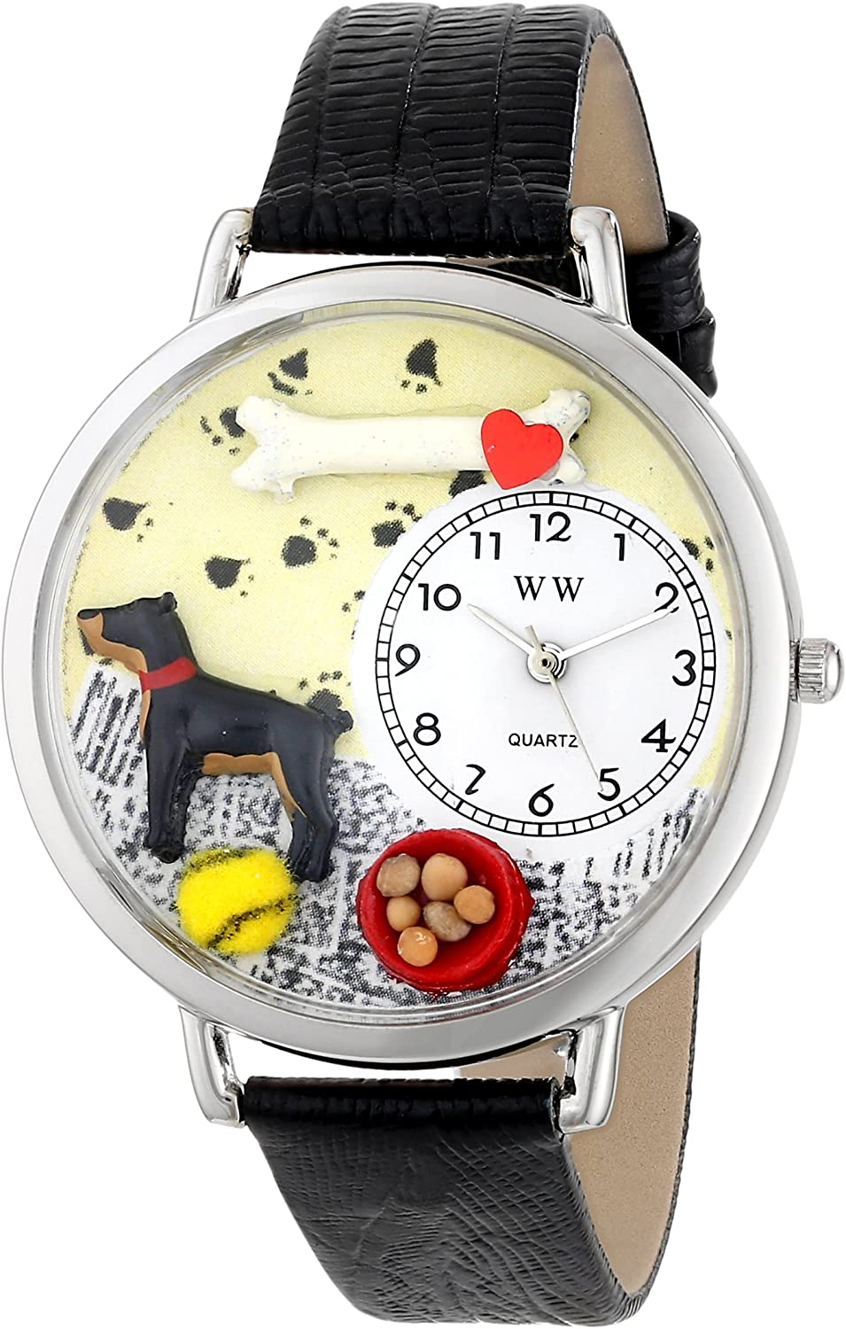 Whimsical Watches Unisex U0130035 Doberman Pinscher Black Skin Leather Watch